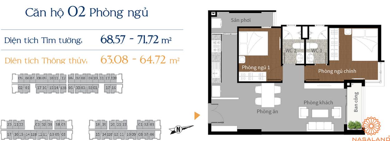 Thiết kế căn hộ Him Lam Phú An - 2 phòng ngủ