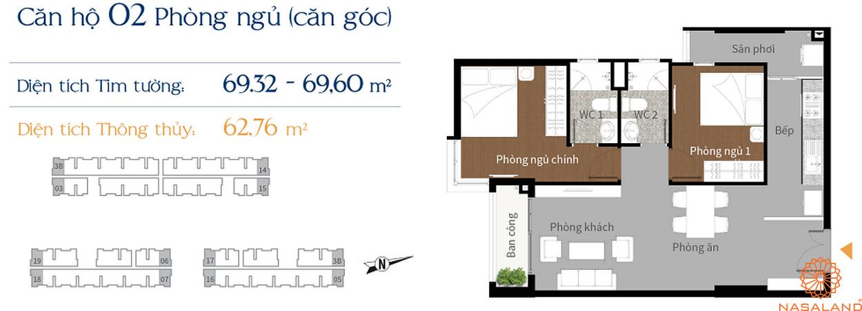 Thiết kế căn hộ Him Lam Phú An - căn góc 2 phòng ngủ