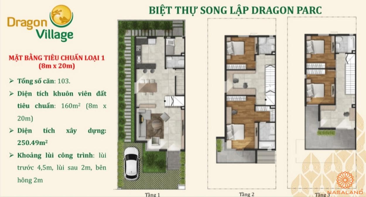Thiết kế nhà phố Dragon Village - biệt thự song lập Dragon Parc