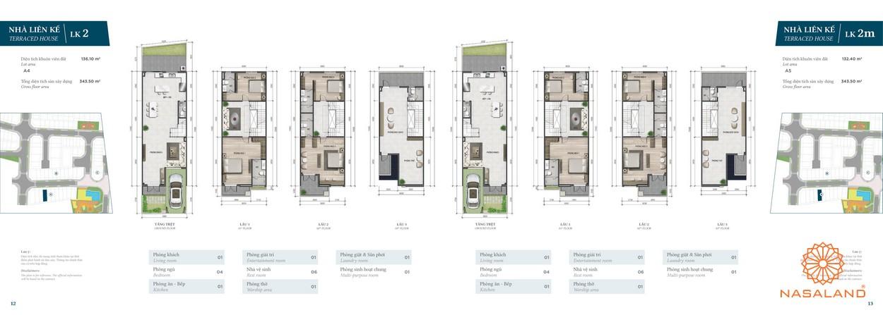 Thiết kế nhà phố Verosa Park phân khu Garden loại LK2 và LK2m