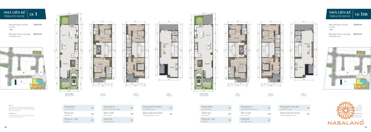Thiết kế nhà phố Verosa Park phân khu Garden loại LK1 và LK1m