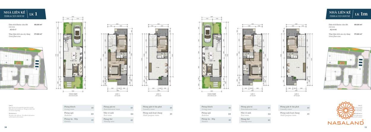 Thiết kế nhà phố Verosa Park phân khu Green loại LK1 và LK1m