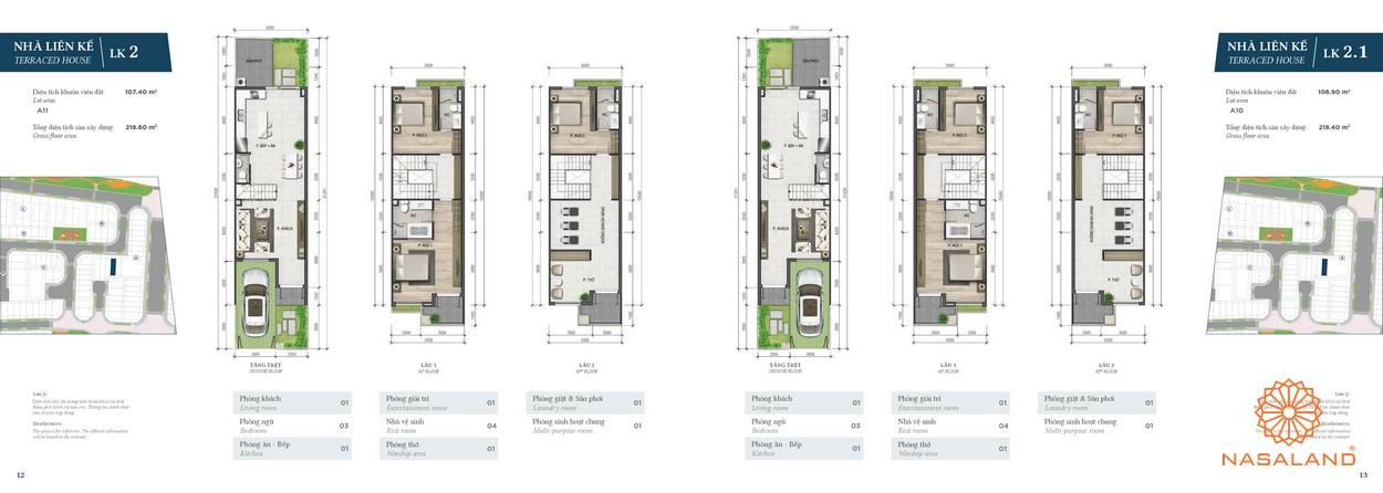 Thiết kế nhà phố Verosa Park phân khu Green loại LK2 và LK2.1