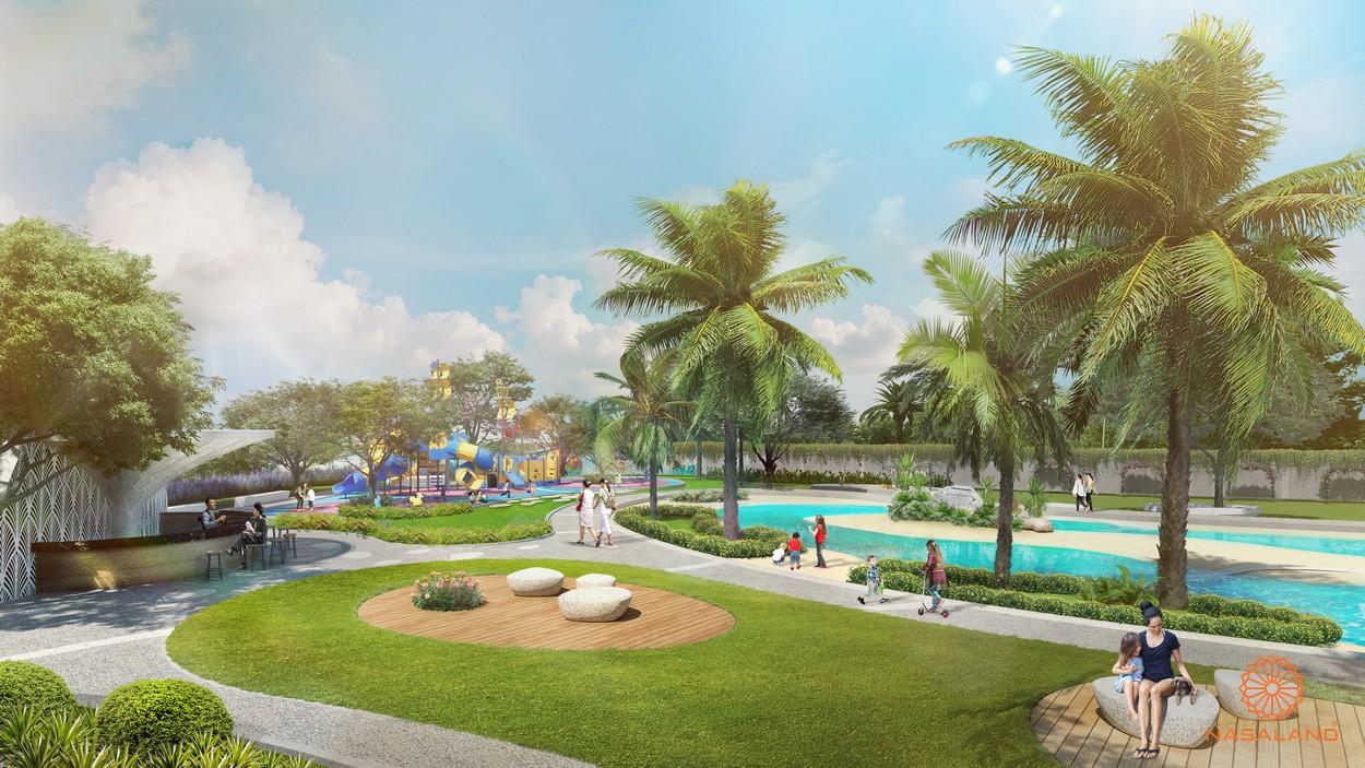 Khuôn viên xanh nằm trong nội khu dự án nhà phố Verosa Park Khang Điền Quận 9