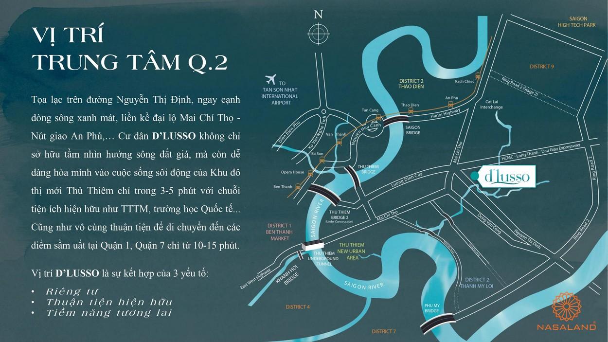 Vị trí địa chỉ dự án căn hộ D'lusso Emerald Quận 2 đường Nguyễn Thị Định chủ đầu tư Điền Phúc Thành