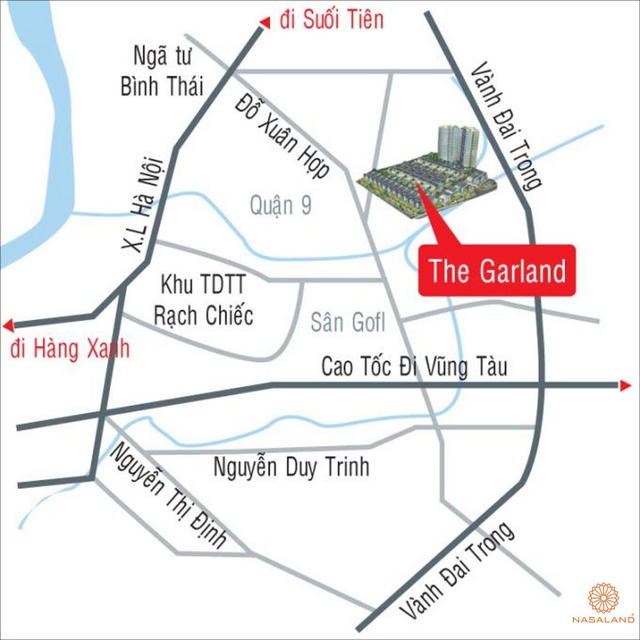 Vị trí dự án biệt thự, căn hộ The Garland Quận 9