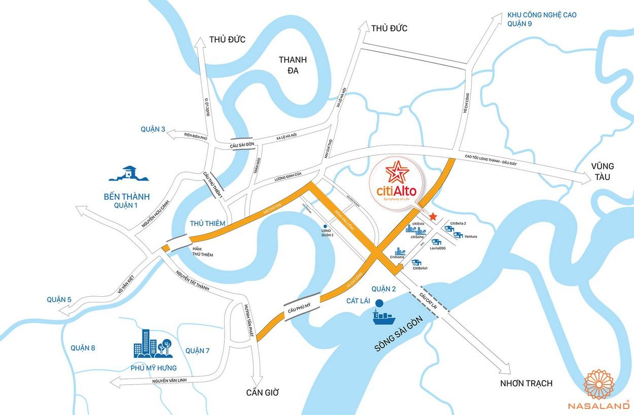 Vị trí của dự án CitiAlto so với khu vực lân cận