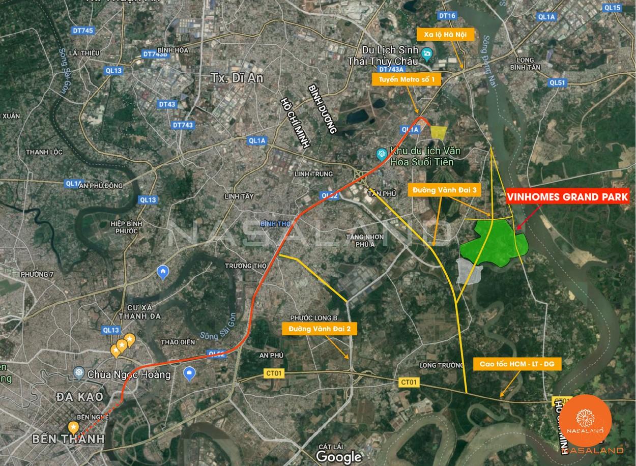 Vị trí địa chỉ dự án khu đô thị Vinhomes Grand Park Quận 9 đường Nguyễn Xiển chủ đầu tư Vingroup