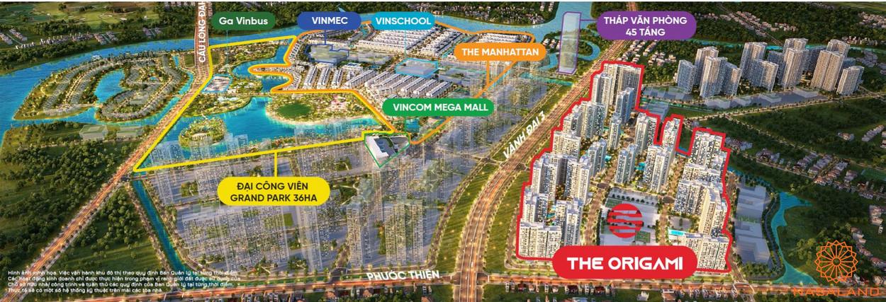 Vị trí tổng thể phân khu The Origami Vinhomes Grand Park