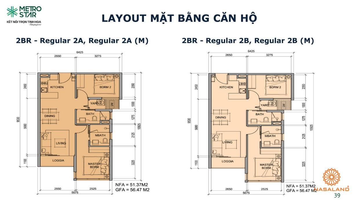 Layout căn hộ 2 phòng ngủ Metro Star