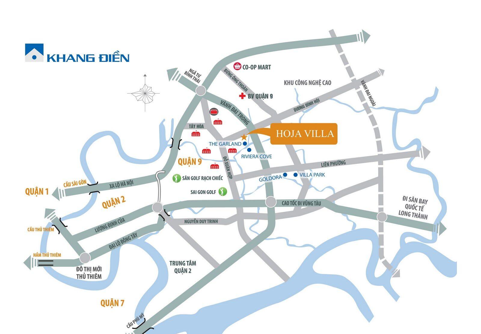 Vị trí địa chỉ dự án căn hộ Hoja Villa Quận 9 Đường Trường Thạnh