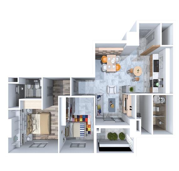 Thiết kế căn hộ của chung cư TDH Phước Long
