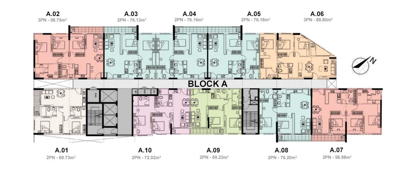 Mặt bằng căn hộ Jamila Khang Điền - block A