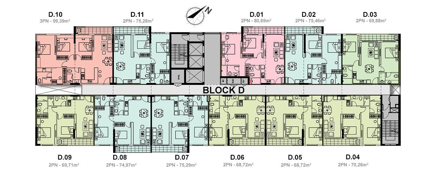 Mặt bằng block D của dự án căn hộ Jamija