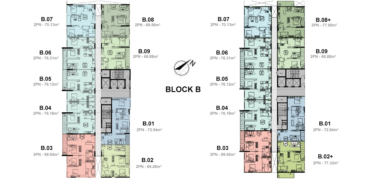 Mặt bằng block B của dự án căn hộ jamila