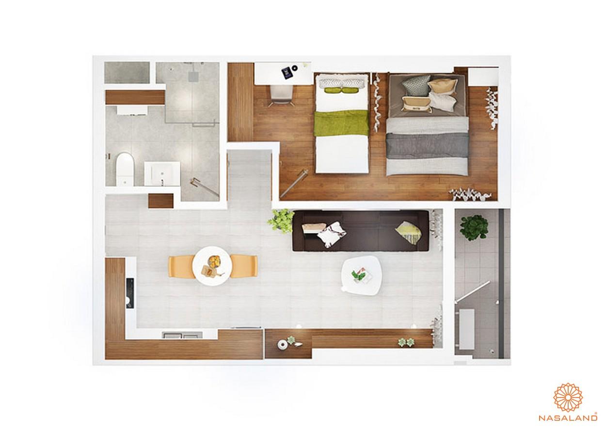 Thiết kế chi tiết căn hộ 1 PN ~ 50m2 của dự án