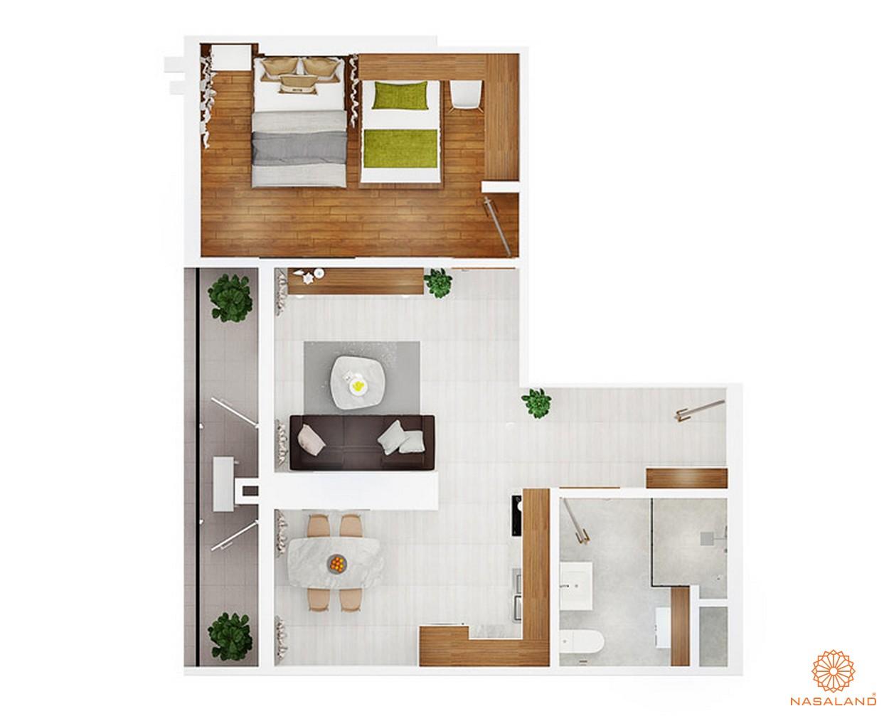 Thiết kế chi tiết căn hộ 1 PN ~ 61m2 của dự án