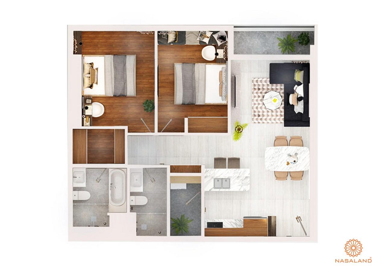 Thiết kế chi tiết căn hộ 2 PN ~ 78m2 dự án chung cư Kingdom 101 quận 10