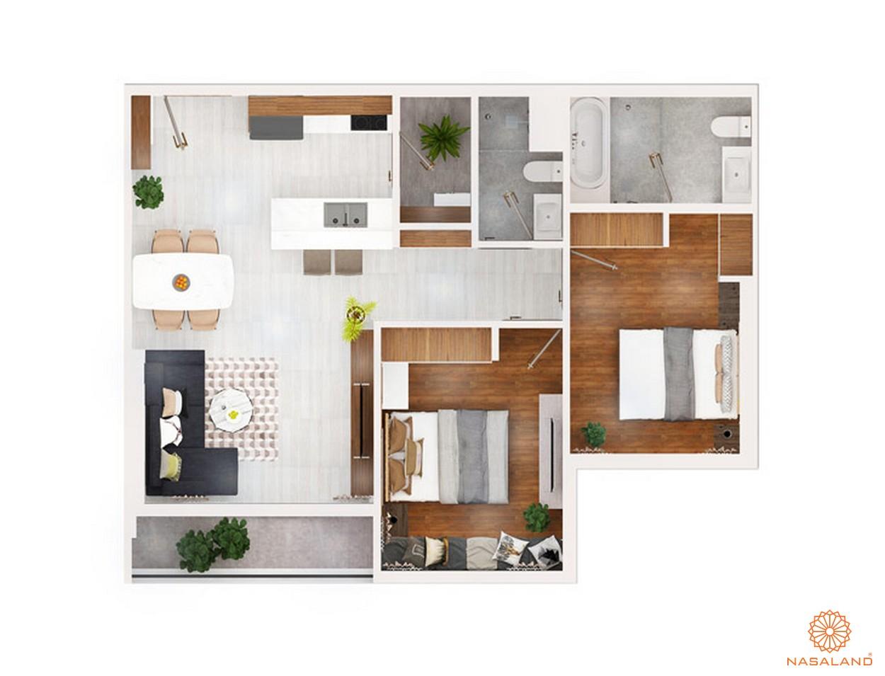 thiết kế chi tiết căn hộ 2 PN ~ 72m2 dự án chung cư Kingdom 101 quận 10