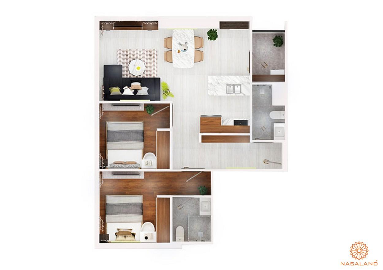 thiết kế chi tiết căn hộ 2 PN ~ 70m2 dự án chung cư Kingdom 101 quận 10