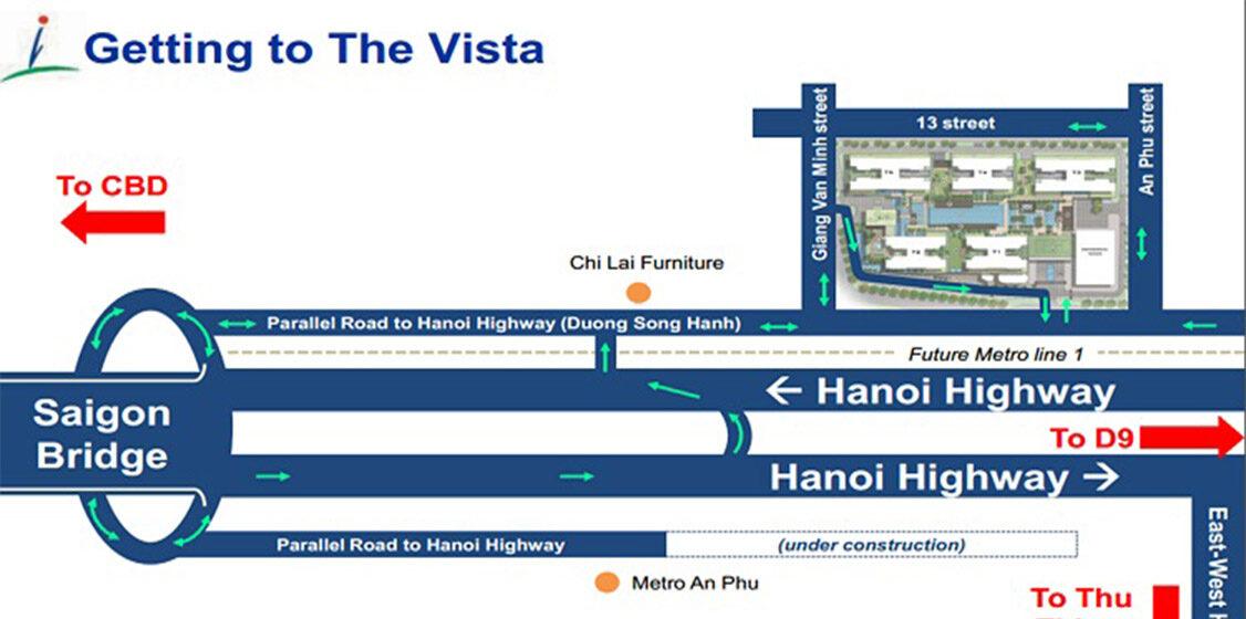 Vị trí địa chỉ dự án căn hộ chung cư The Vista An Phú Quận 2