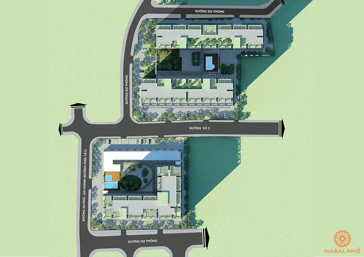 Mặt bằng dự án căn hộ Chung Cư Bộ Công An Quận 2 đường chủ đầu tư Phú Cường Group