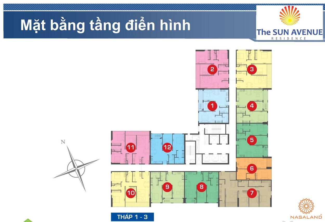 Mặt bằng chi tiết tầng điển hình dự án căn hộ The Sun Avenue quận 2