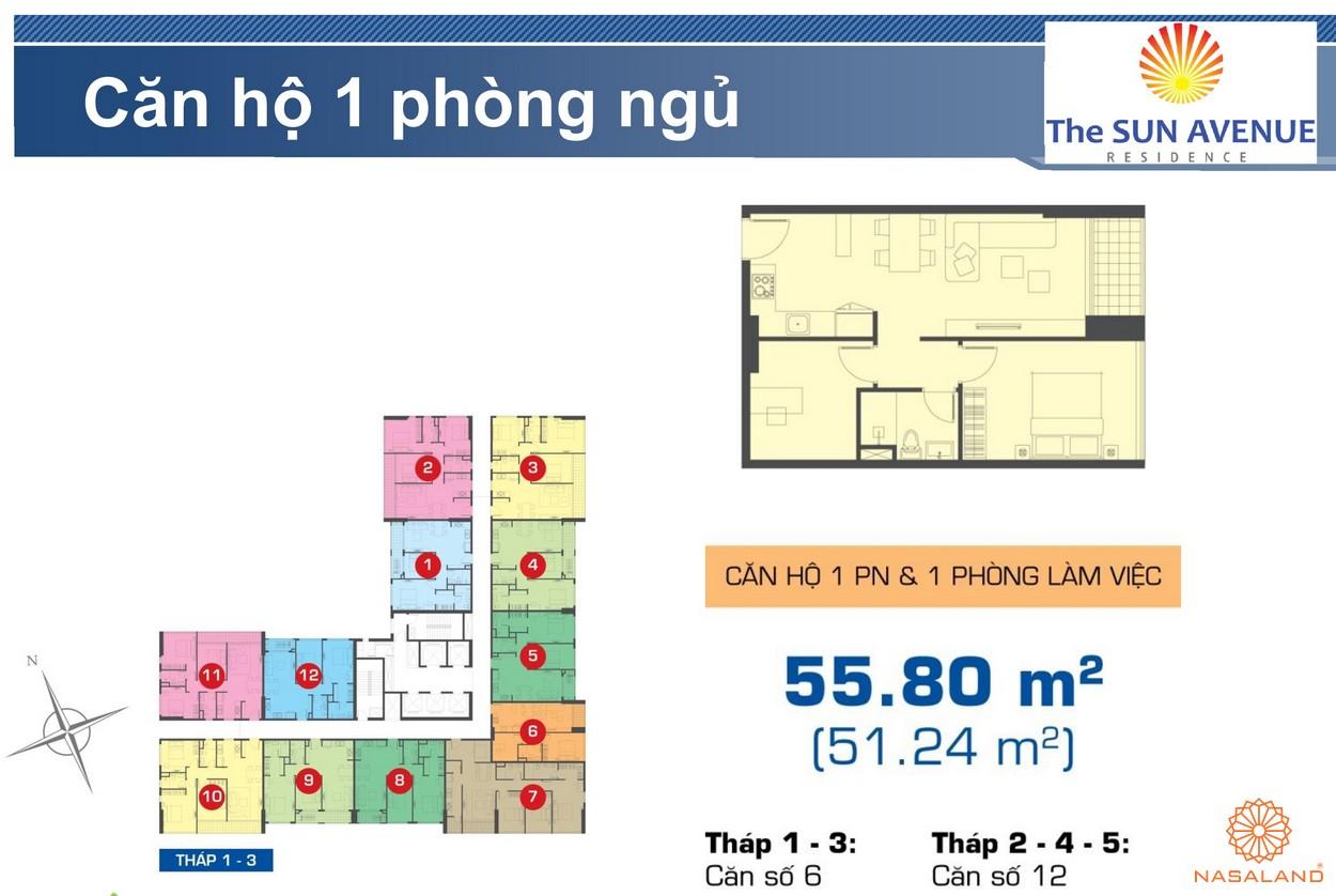 Mặt bằng chi tiết căn hộ 1PN dự án The Sun Avenue quận 2