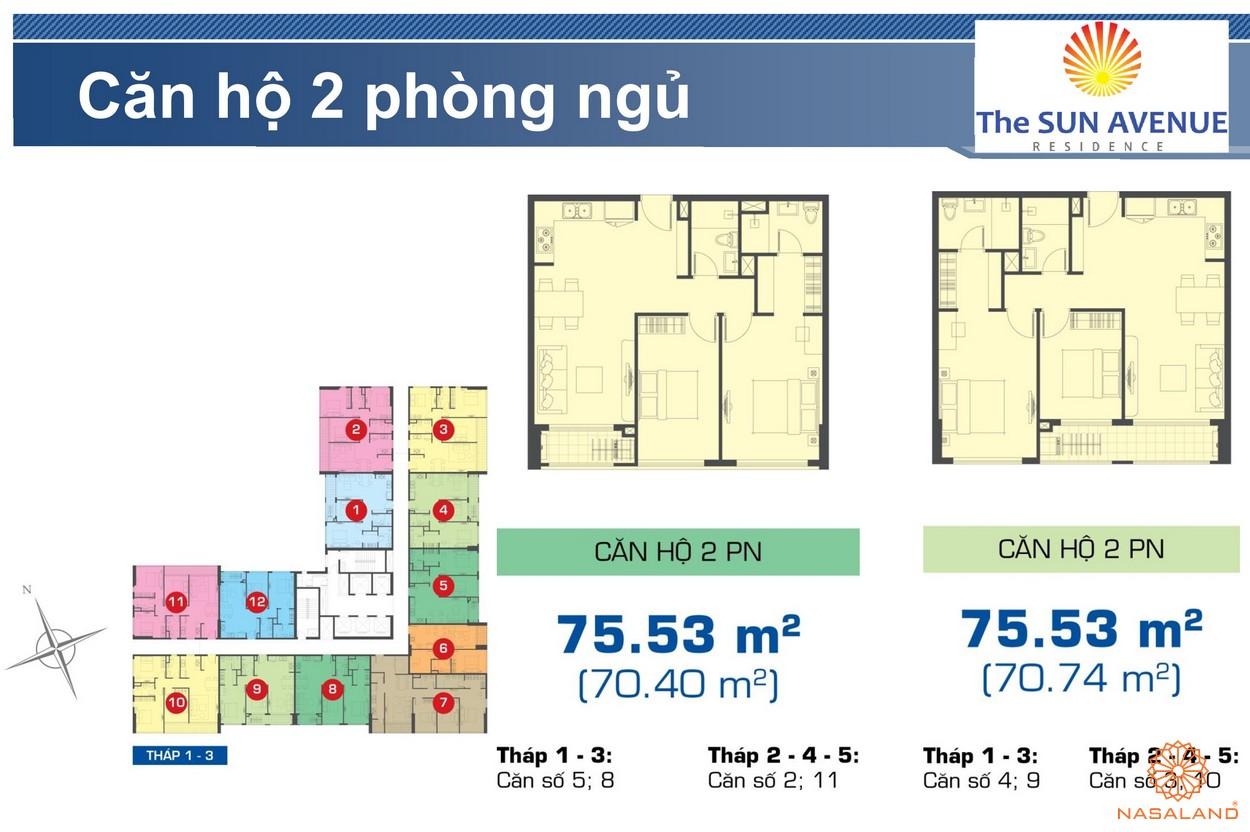 Mặt bằng chi tiết căn hộ 2PN dự án The Sun Avenue quận 2
