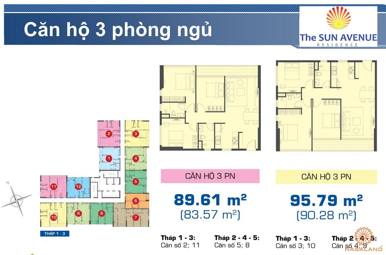 Mặt bằng chi tiết căn hộ 3PN dự án The Sun Avenue quận 2