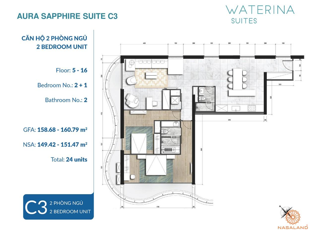 Mặt bằng Aura Sapphire Suite thuộc căn hộ Waterina Suites Quận 2