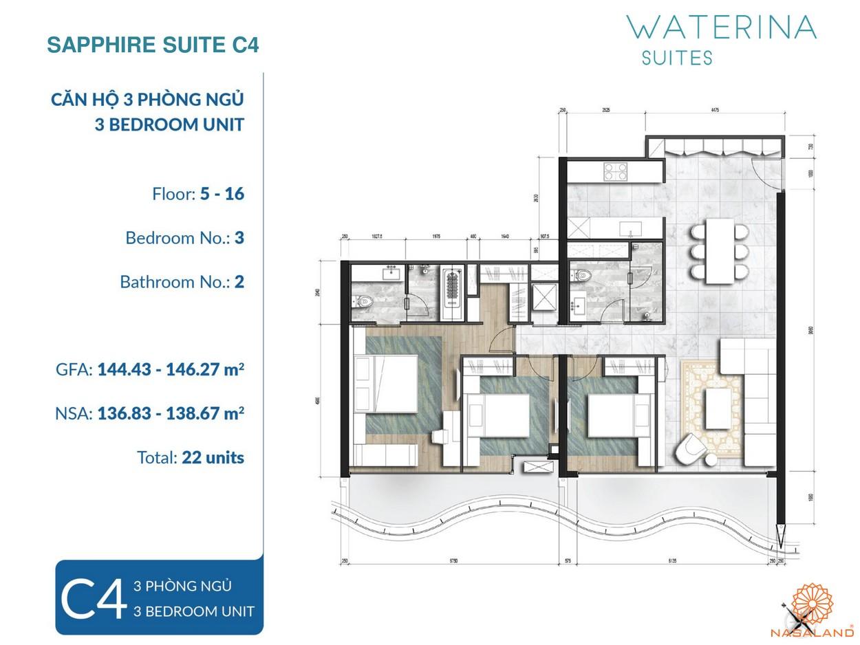 Mặt bằng Sapphire Suite thuộc căn hộ Waterina Suites Quận 2