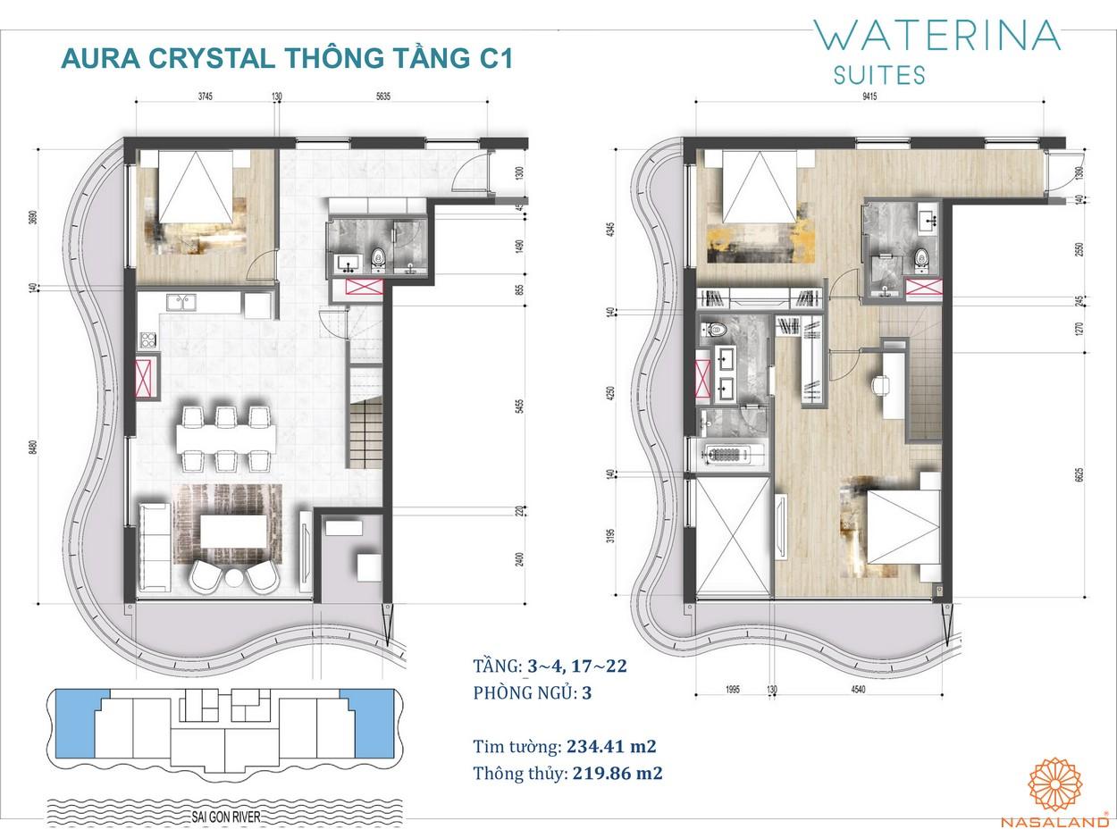 Mặt bằng Aura Crystal thuộc căn hộ Waterina Suites Quận 2