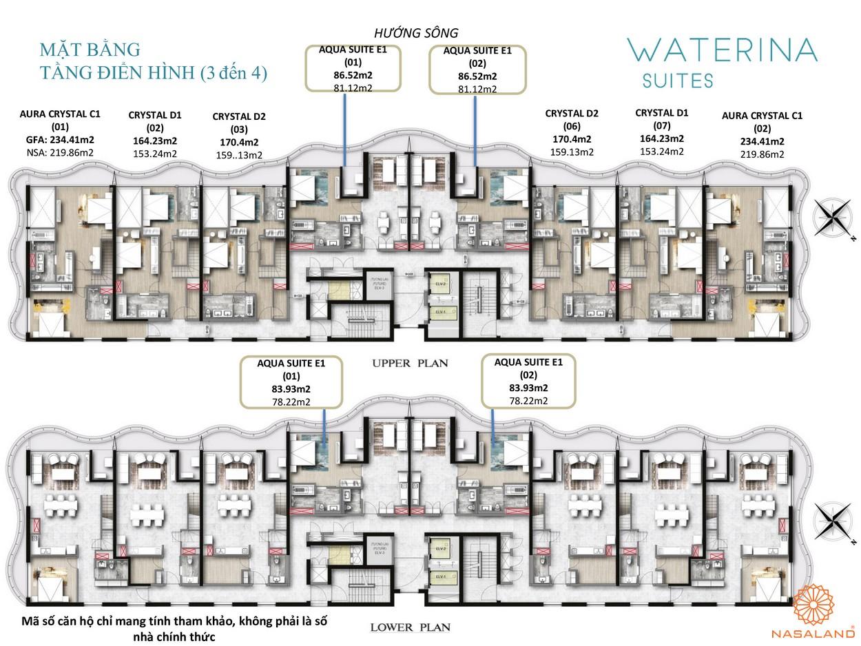 Mặt bằng tầng điển hình 3-4 căn hộ Waterina Suites Quận 2