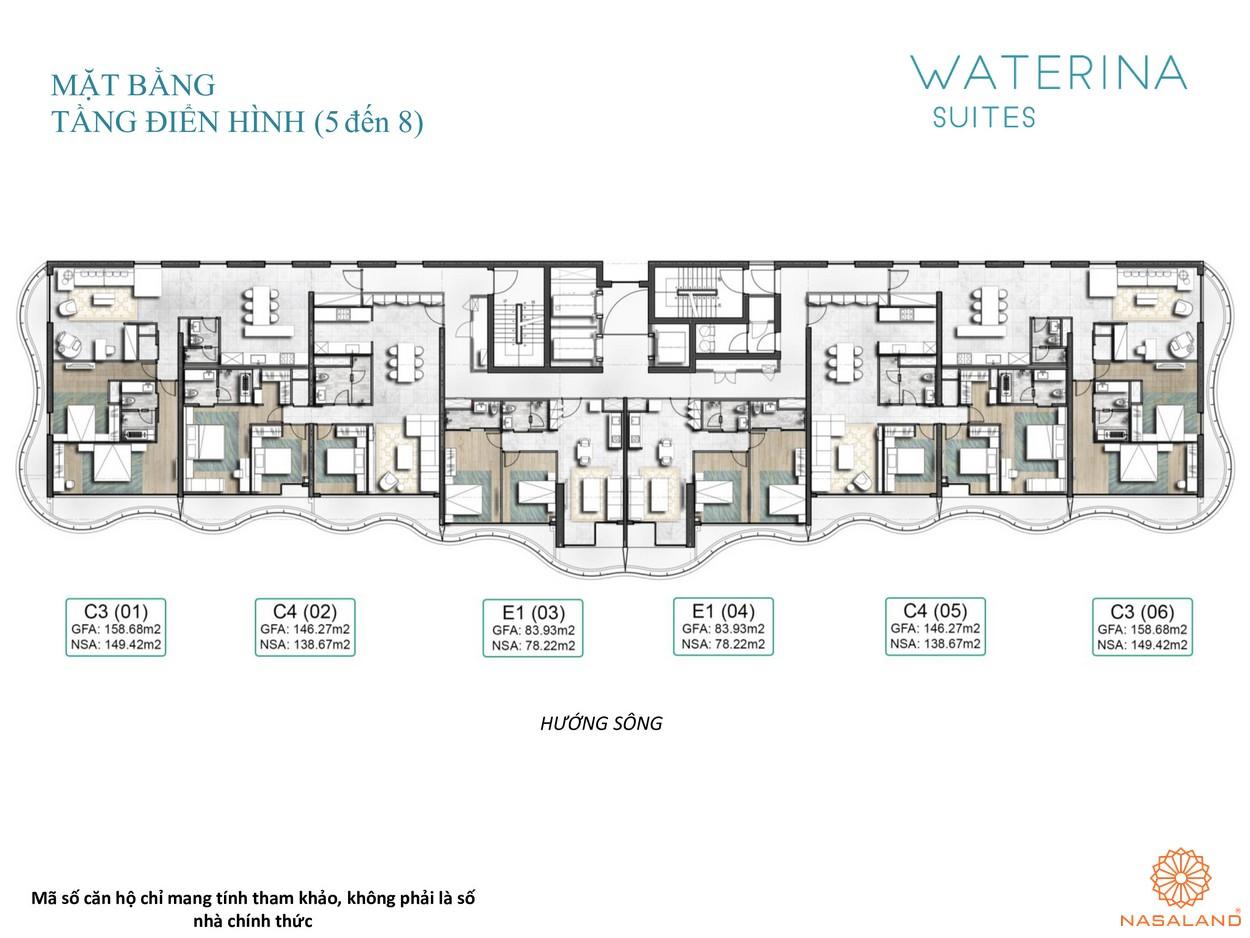 Mặt bằng tầng điển hình 5-8 căn hộ Waterina Suites Quận 2