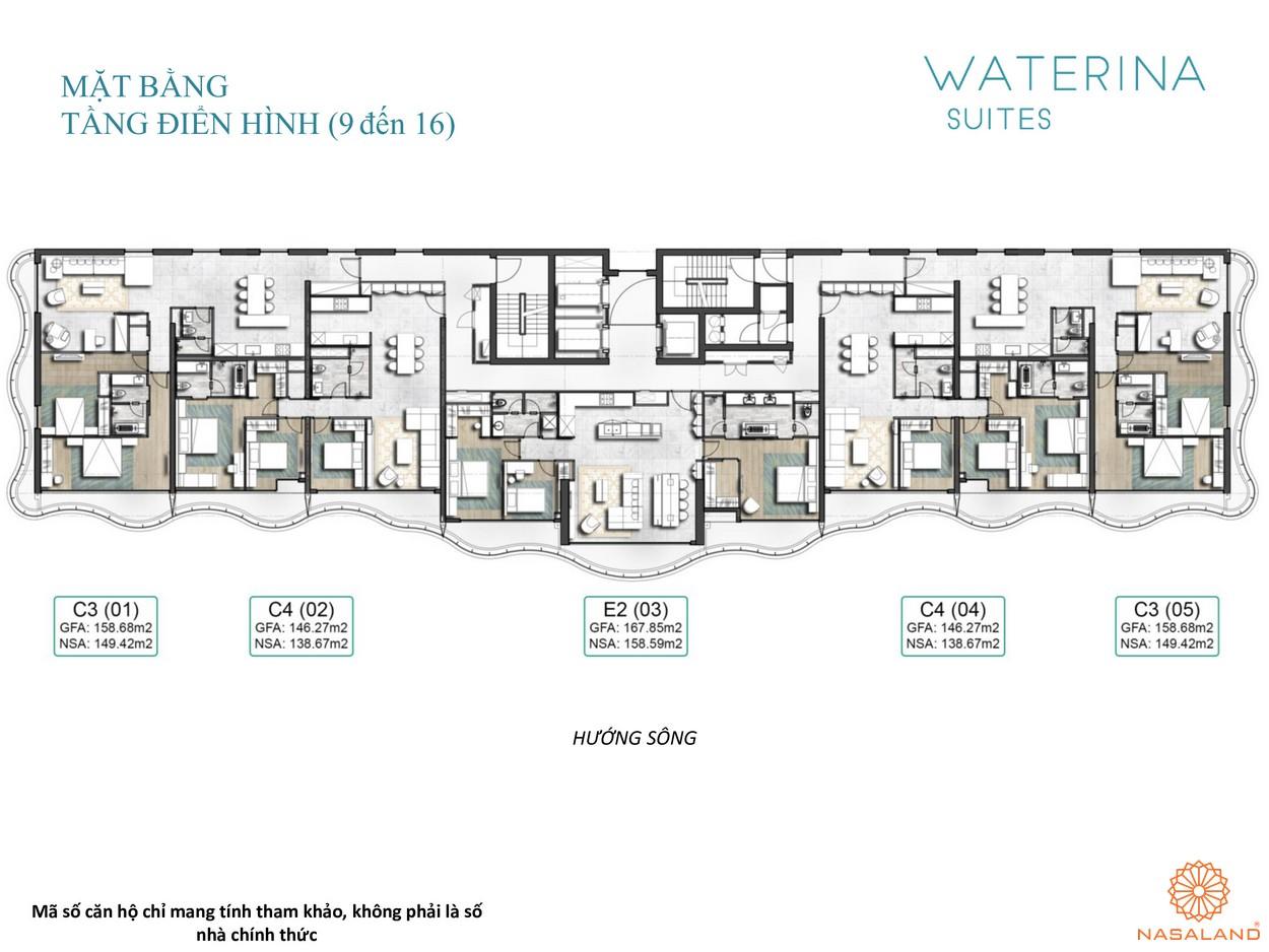 Mặt bằng tầng điển hình tầng 9-16 căn hộ Waterina Suites Quận 2