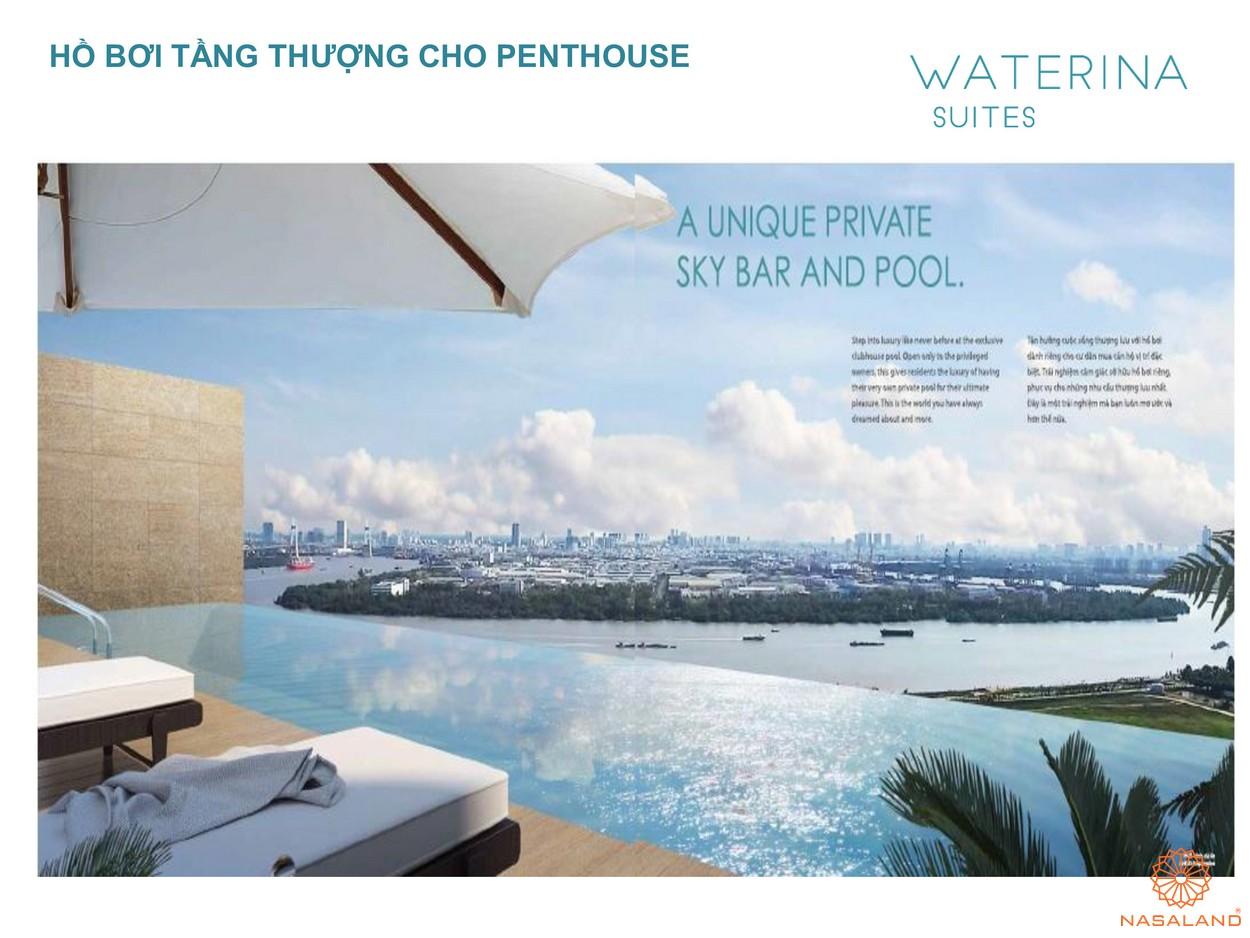 Hồ bơi sân thượng dự án căn hộ Waterian Suites Quận 2