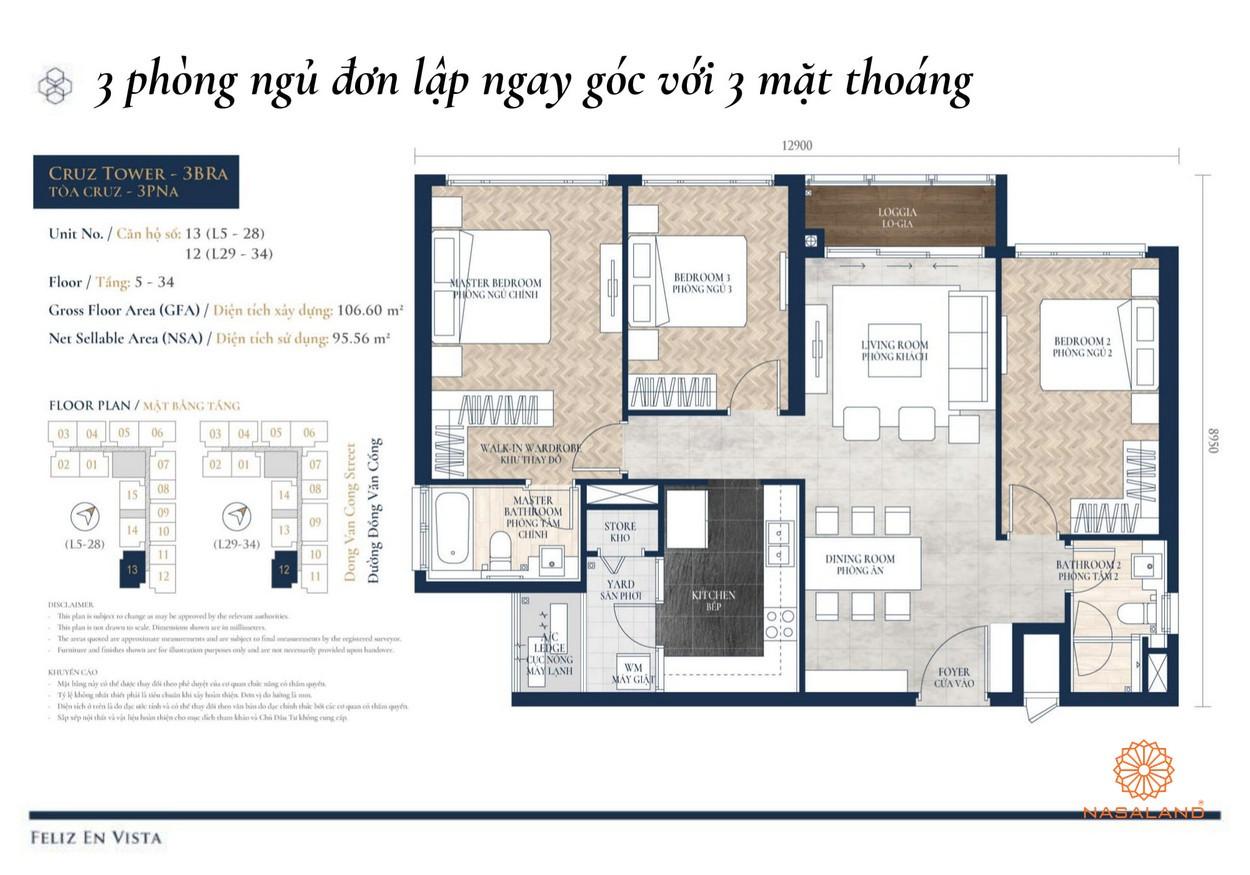 Thiết kế dự án căn hộ 3pn Feliz en Vista Quận 2 đường Phan Văn Đáng chủ đầu tư CapitaLand