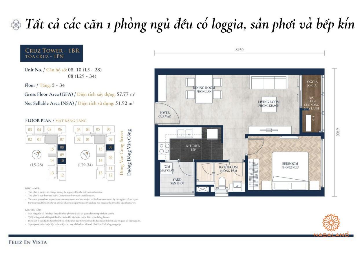 Thiết kế dự án căn hộ 1PN Feliz en Vista Quận 2 đường Phan Văn Đáng chủ đầu tư CapitaLand