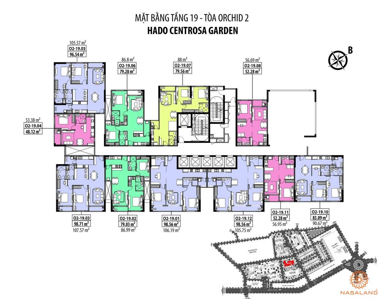 Mặt bằng Hà Đô Centrosa căn hộ tầng 19 - tòa Orchid 2