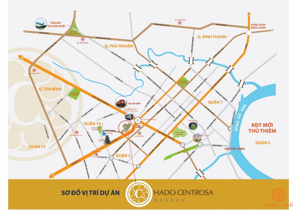 Vị trí địa chỉ dự án căn hộ Hà Đô Centrosa Garden quận 10