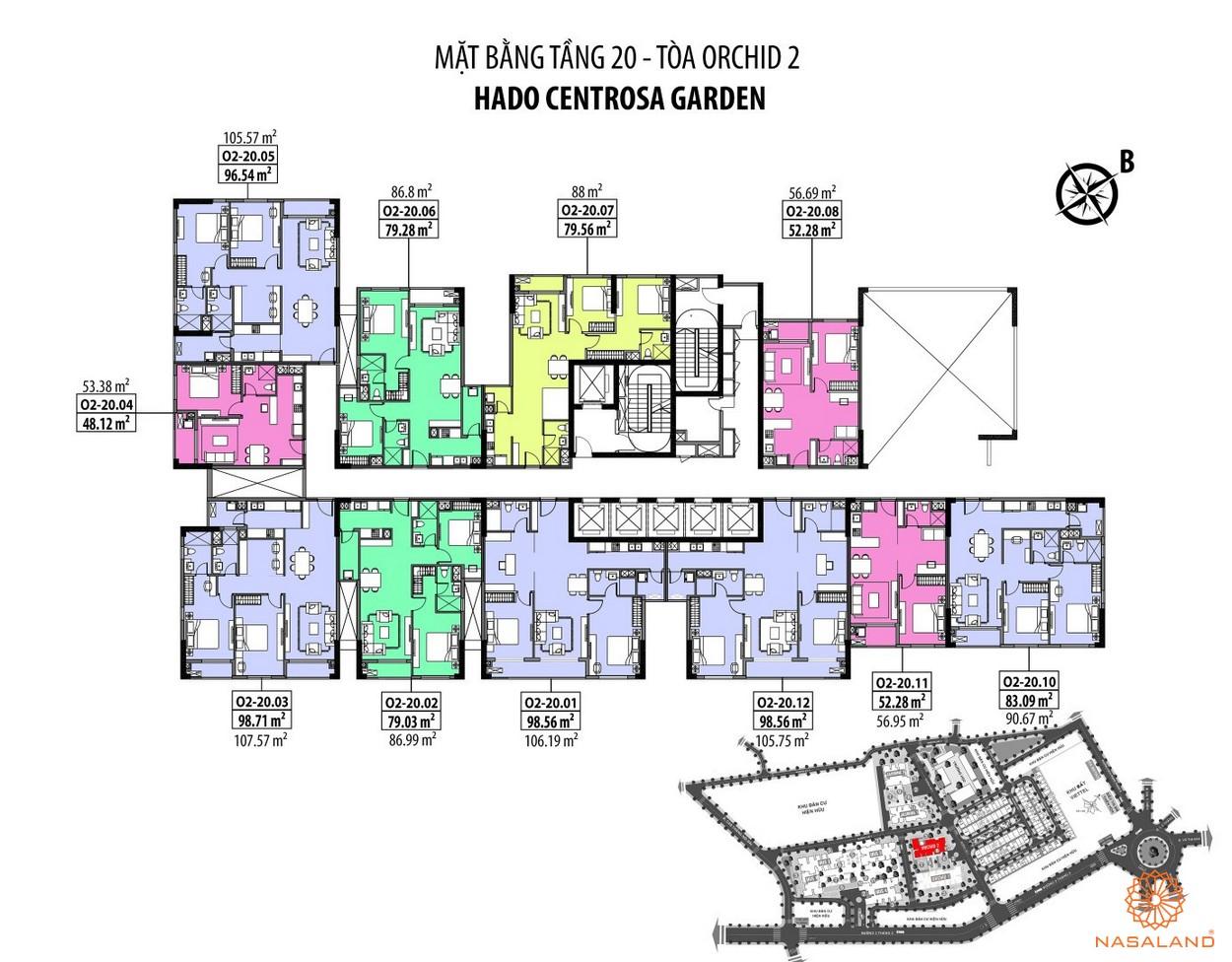 Mặt bằng Hà Đô Centrosa căn hộ tầng 20 - tòa Orchid 2