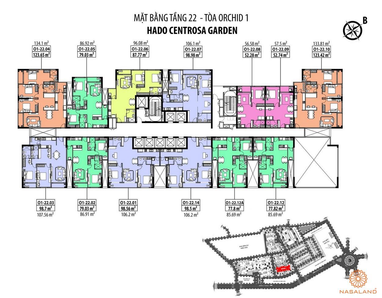 Mặt bằng Hà Đô Centrosa căn hộ tằng 22 - tòa Orchid 1