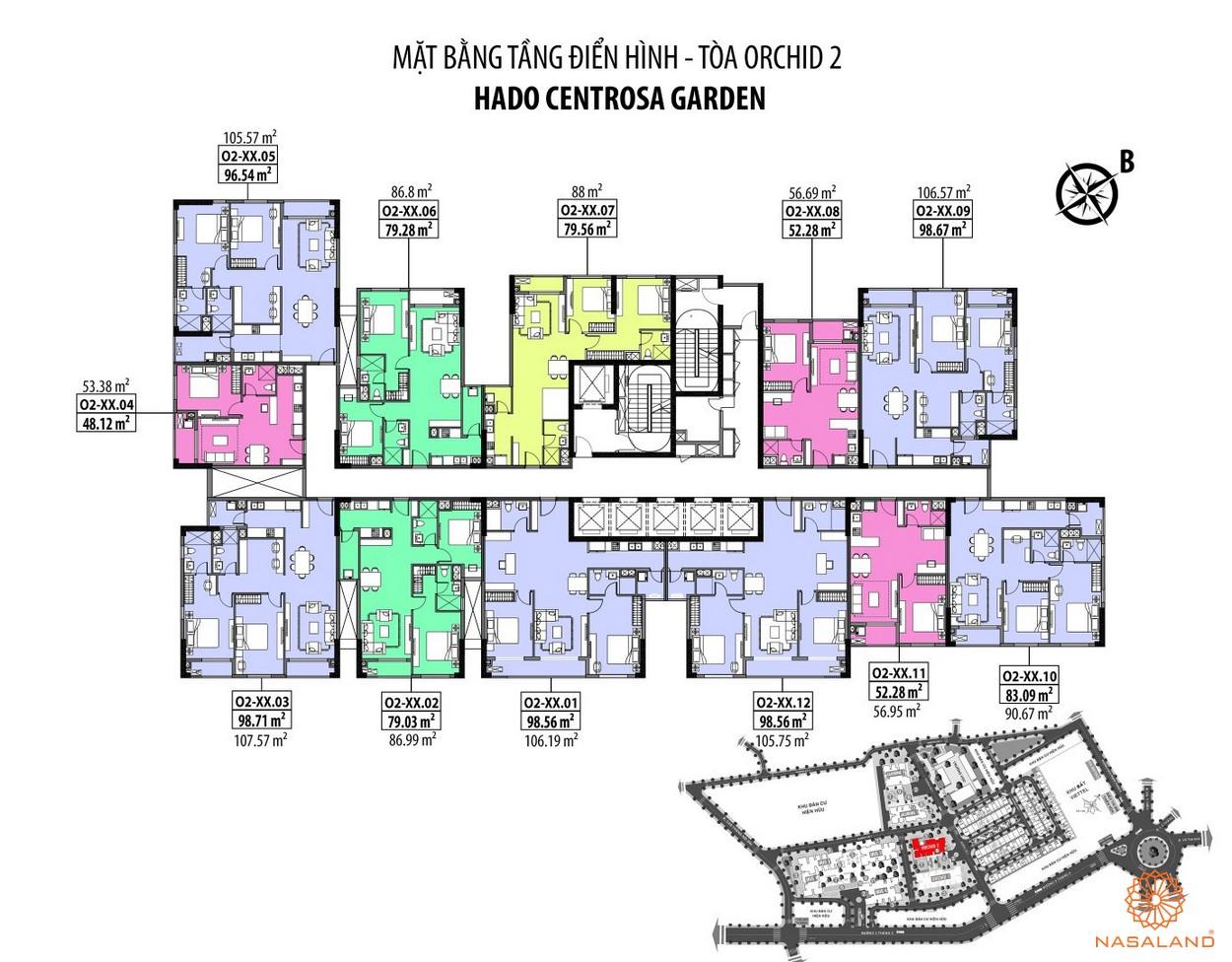 Mặt bằng Hà Đô Centrosa căn hộ tằng điển hinh - tòa Orchid 2