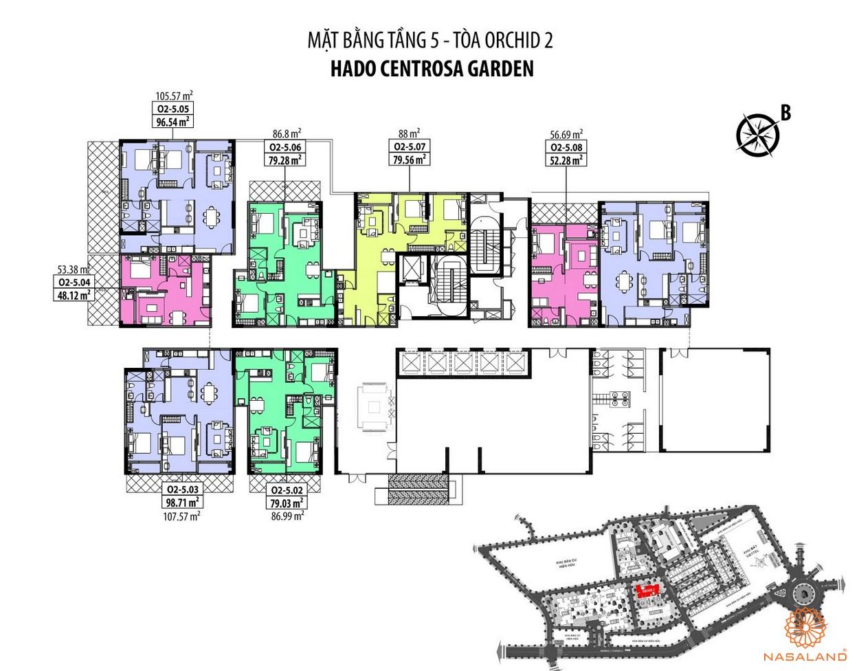 Mặt bằng Hà Đô Centrosa căn hộ tầng 5 - tòa Orchid 2