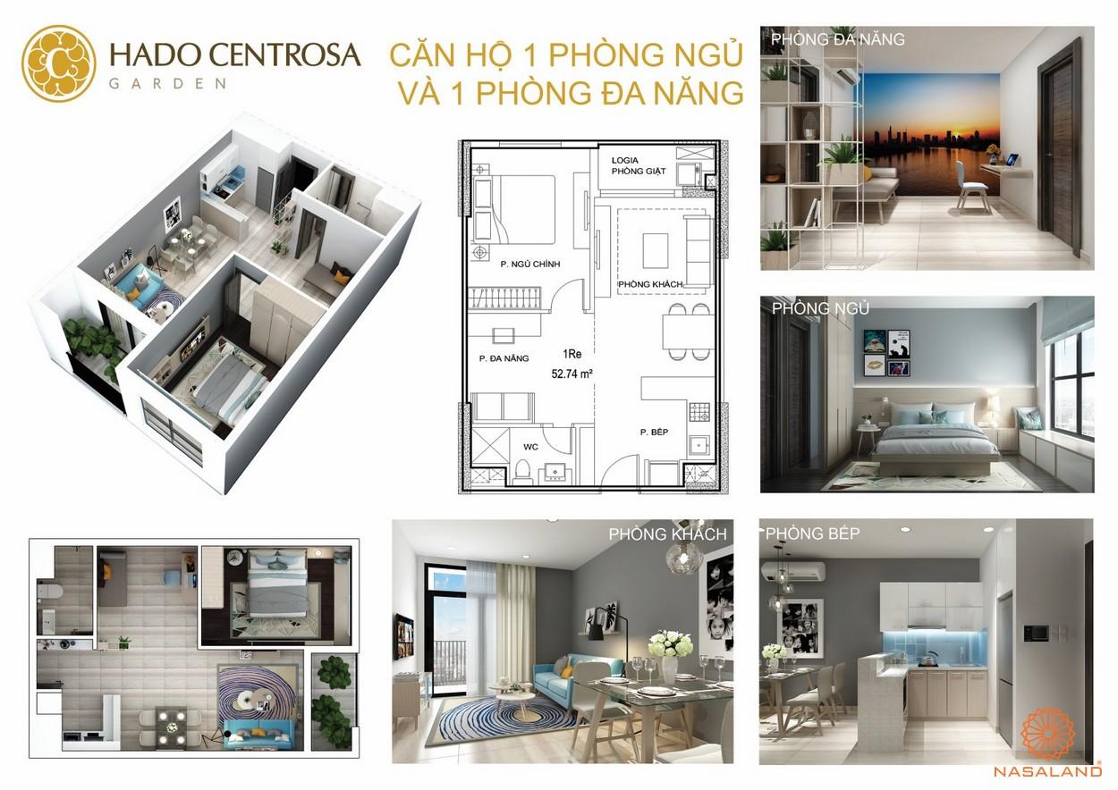 Thiết kế nhà mẫu 1PN + 1ĐN dự án căn hộ Hà Đô Centrosa Garden