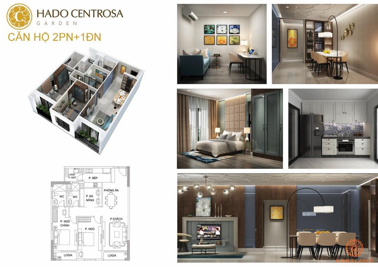 Thiết kế nhà mẫu 2PN + 1ĐN dự án căn hộ Hà Đô Centrosa Garden