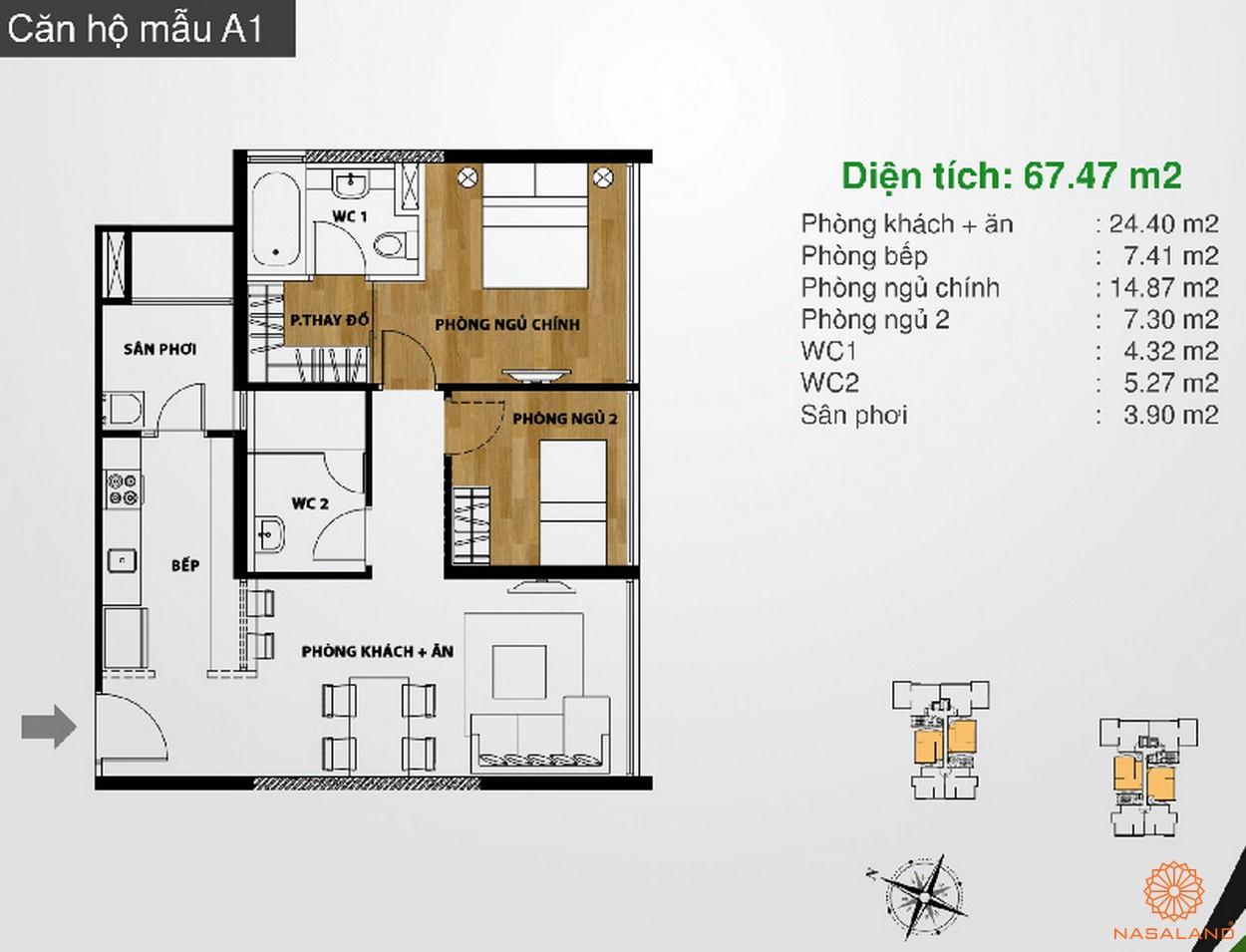 Hình ảnh căn hộ mẫu A1 dự án The Ascent Quận 2