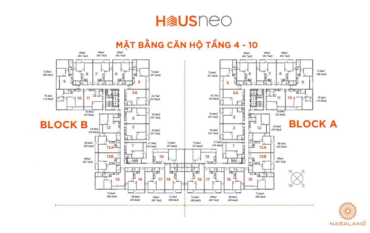 Mặt bằng căn hộ tầng 4 - 10 dự án căn hộ Hausneo Quận 9