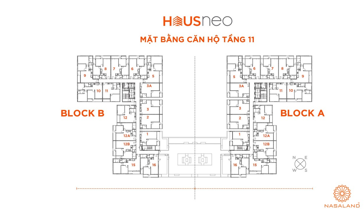 Mặt bằng căn hộ tầng 11 dự án căn hộ Hausneo Quận 9
